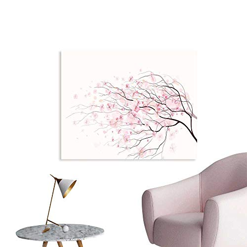 J Chief Sky Light Pink Art Stickers Artistic Sakura Branch with Cherry Flowers Tender Japanese Spring Wall Decals for Kids Living Room W28 xL20