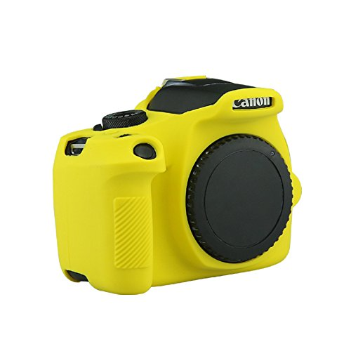 CEARI Silicone Camera Case Full Body Protective Cover Skin for Canon EOS 1300D Rebel T6 Digital Camera + Microfiber Cloth - Yellow (Camera Rubber Digital)
