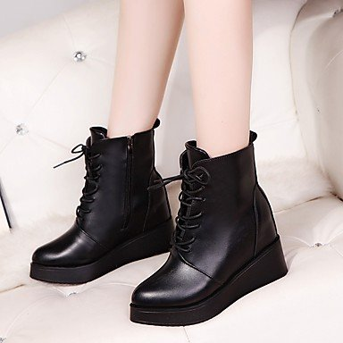 amp;xuezi Schuhe Walking Normal 5 cm 5 Keilabsatz 9 Schwarz Herbst Damen PU 7 black Kleid Stiefel formale GLL Schnürsenkel dwInfd
