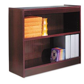 (Alera BCS23036MY - Square Corner Bookcase, Wood Veneer, 2-Shelf, 35-3/8w x 11-3/4d x 30h, Mahogany-ALEBCS23036MY)