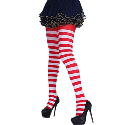 Women Striped Long Tube Over Knee Socks Party Cosplay Funny Thigh High Stockings Hanican, Red