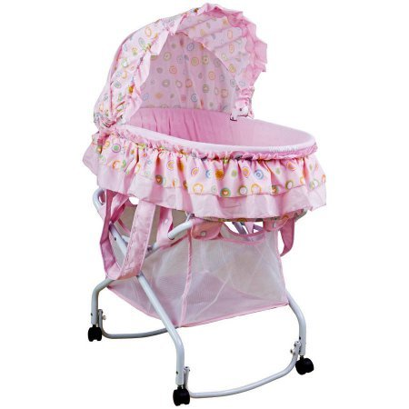 Completely Portable Two in One Bassinet To Cradle, Recommended for a Newborn Up to 20 Pounds, Features Removable Canopy and a Large Storage Basket for Baby's Essentials, Pink Lollipop + Expert Guide