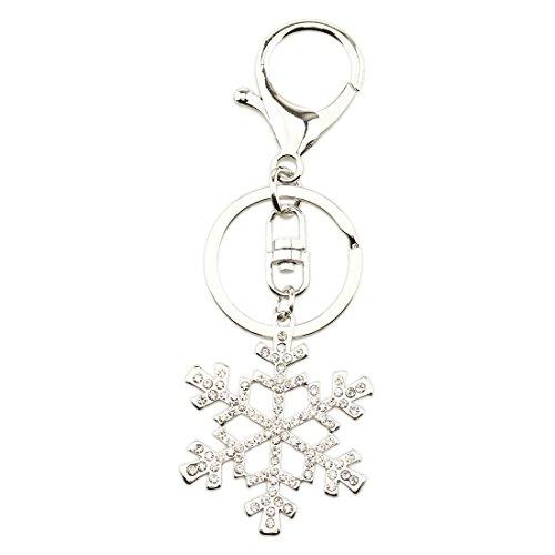 FOY-MALL Fashion Snowflake Rhinestone Alloy Men Women Car/Bag Keyring Gift Key Chain - Keychain Snowflake
