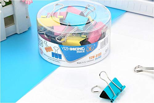 Cute Assorted Colors Binder Clips Paper Clamps,32mm, Pack of 24
