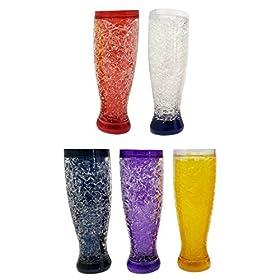 Freezable Double Wall Crackle Gel Tall Pilsener Beer Soda Lemonade Iced Tea Glasses Keep Drinks Cold