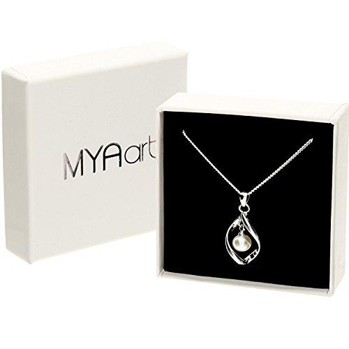 MYA art Damen Halskette Kette 925 Sterling Silber Tropfen mit Perlen  Anhänger Collier Perlenkette Creme Weiß Brautschmuck MYASIKET-88   Amazon.de  Schmuck 0c37242891