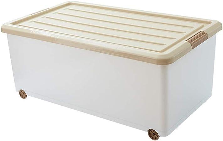 XWCPDM Caja De Almacenamiento Caja De Almacenamiento De Plástico Grande Y Grande Caja De Almacenamiento Caja De Almacenamiento Contenedor De Caja Apilable Cierre De Clip Cubierta Y Rueda Cesta de alma: Amazon.es: