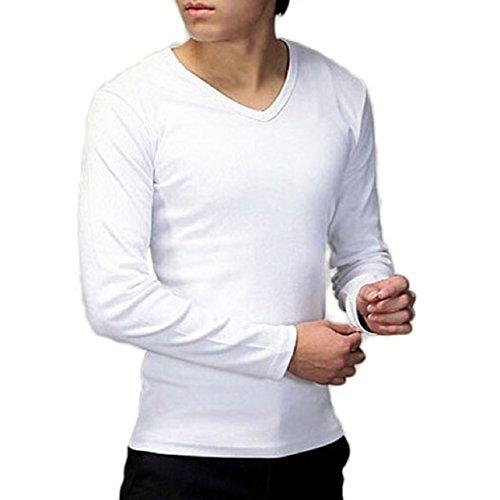 Lowpricenice Men Slim Cotton V-neck T-shirt Tops (M, White)