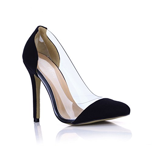 Pegamento Zapatos Clic Punto Negro Haga Cristal Shoes En Mujer Cena Nueva Discotecas De Transparente Black Otoño Alto heel vgdEBdq