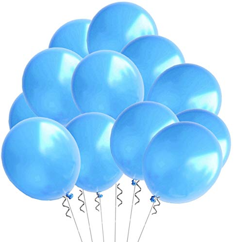 Elecrainbow 100 Pack 12 Inch 3.2 g/pc Thicken Round Pearlescent Latex Blue Balloons for Party Decorations, Light Blue ()