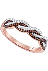 10K Rose Gold White Red Round Diamond Infinity Engagement Wedding Band Ring 1/4 Cttw