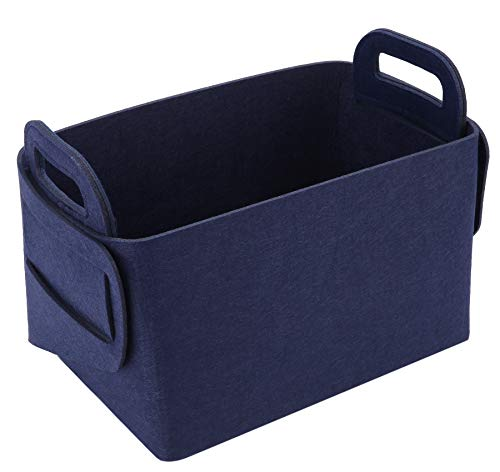 - Storage Basket Felt Storage Bin Collapsible & Convenient Box Organizer with Carry Handles for Office Bedroom Closet Babies Nursery Toys DVD Laundry Organizing