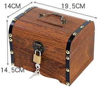 FAWEG Hucha de Madera Caja Fuerte Caja de Ahorro Caja de Madera Tallado a Mano Retro Vintage Niños Caja de Almacenamiento de Monedas en Efectivo Grande: Amazon.es: Hogar