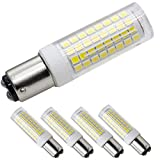 XRZT BA15D 120V LED Bulbs, Dimmable Double Contact Bayonet Base, White 6000K, T3/T4,7W 75W Halogen Bulbs Equivalent for Sewing Machine Lamp(4-pack)