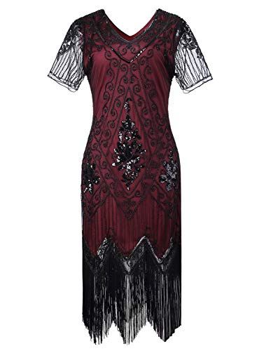 Women 1920s Flapper Dress Vintage - Sequin Fringed Gatsby Dresses Art Decor with Sleeves for Roaring 20s Party