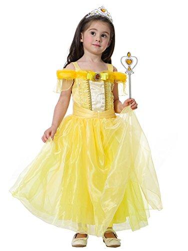 Bigface Up Girl's Princess Costume Halloween Party Fancy Dress Ball Gown Dress( Yellow 130)