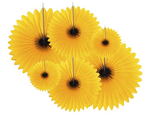 6-Piece Sunflower Theme Decorations Tissue Paper Fan Party Supplies perfect for Classroom Baby Shower Wedding Birthday Backdrop Garland (Two 24 inch, Two 16 inch, Two 9.5 inch.)