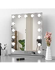 Nitin Hollywood Vanity Mirror with Lights, Tabletop / Wall Mounted Lighted Makeup Beauty Mirror for Bedroom Dressing Room