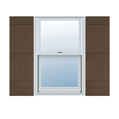Ekena Millwork LJ4S14X05900FB Lifetime Vinyl Standard Four Joined with Board-n-Batten Shutters, 14