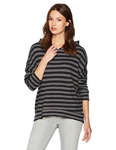 Stateside Women's Stripe Thermal Longsleeve Hoodie, Charcoal Medium