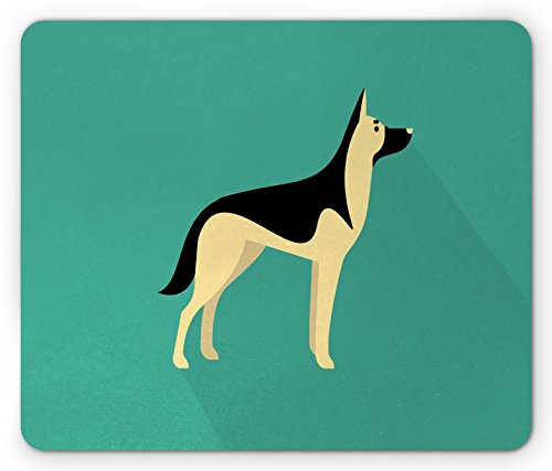 German Shepherd Mouse Pad by Lunarable, Flat Illustration in Simple Style Purebred Tall Canine Animal, Standard Size Rectangle Non-Slip Rubber Mousepad, Sea Green Cream - Flat Style Illustration