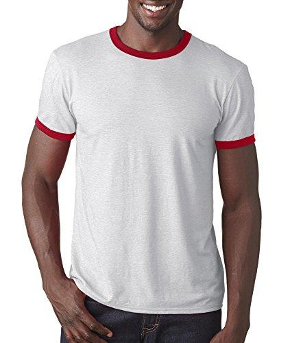 Anvil Lightweight Ringer T-Shirt (988AN)- White RED,M