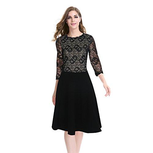 Spitzen - Kleid,schwarz,XXL