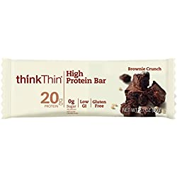 thinkThin High Protein Bars, Brownie Crunch, 2.1 oz Bar (10 Count)
