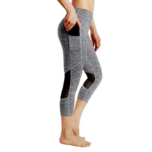 Gyrategirl Women High Waist Mesh Workout Leggings Yoga Pants Capris Running Sports Gym Athletic Tights w (Athletic Mesh Tights)