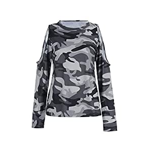 Janly Clearance Sale Long Sleeve Ladies Blouse , Personality All-match Camouflage Print Long-sleeved Women's T-shirt Top…