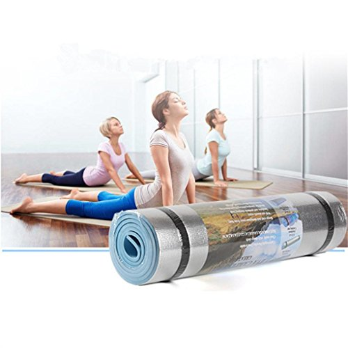 weiyun Fashion 180x50CM Aluminum Film Moisture-proof Yoga Mat, High Density Anti-Tear Exercise Yoga Mat, for Workout Exercise Gym Fitness Pilates Pad