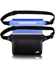 HEETA 2-Pack Waterproof Pouch with Waist Strap, Screen Touchable Dry Bag with Adjustable Belt for Phone Valuables for Swimming Snorkeling Boating Fishing Kayaking