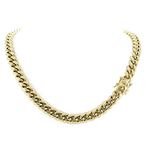 Men's Miami Cuban Link Chain 14k 18k Yellow Gold White Or Rose Gold Plated Stainless Steel 8-18mm Thick (14k Yellow Gold 10mm, - Chain Steel Stainless Link Cuban