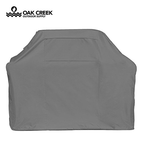 Oak Creek 58 Inch BBQ Grill Cover Made Of Heavy Duty Waterproof 600D Fabric Featuring Air Vents, Click Close Straps, and Elastic Cord That Fits Weber, Char Broil, Dynaglow and (Gray Propane Grill)