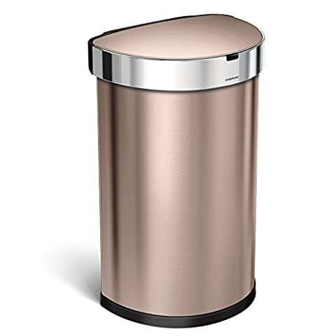 simplehuman 45L Semi-Round Sensor Can, Automatic Kitchen Trash Can, Rose Gold, with 60 pack custom fit liner code (6 Stainless Steel Trash Ring)