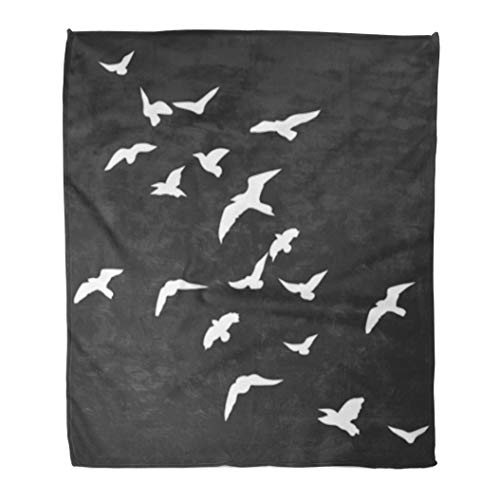 Golee Throw Blanket Dove Symbol of Peace Flock Birds Go Up Silhouette Booklet 60x80 Inches Warm Fuzzy Soft Blanket for Bed Sofa