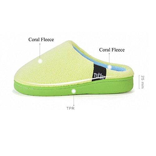 Súper Soft Coral Fleece House Slipper Grueso Plush Zapatos De Interior Verde