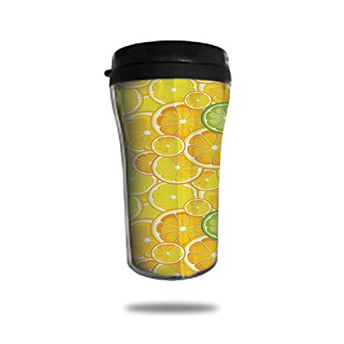 Stainless Steel Insulated Coffee Travel Mug,Spill Proof Flip Lid Insulated Coffee cup Keeps Hot or Cold 8.45 OZ(250 mlCustomizable printing byYellow Decor,Lemon Orange Lime Citrus Round Cut Circles B