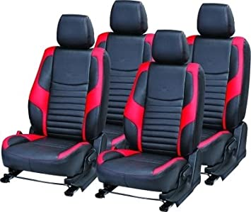 KHUSHAL Faux Leather Front And Back Seat Covers Set For Maruti Alto 800 Black Red Amazonin Car Motorbike