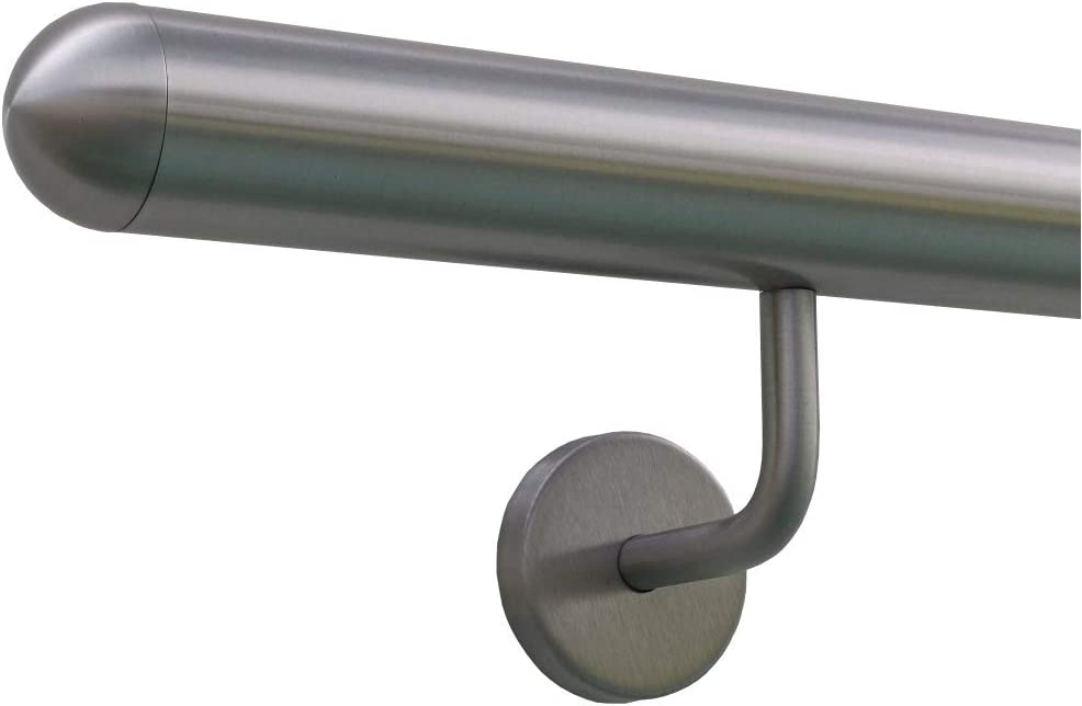 Beispiel:L/änge 30 cm mit 2 Halter Enden mit Bogen zur Wand 6m aus einem St/ück /& unterschiedlichen Endst/ücken zum Ausw/ählen /Ø 33,7 mm mit gewinkelte Halter Edelstahlhandlauf L/änge 0,3m