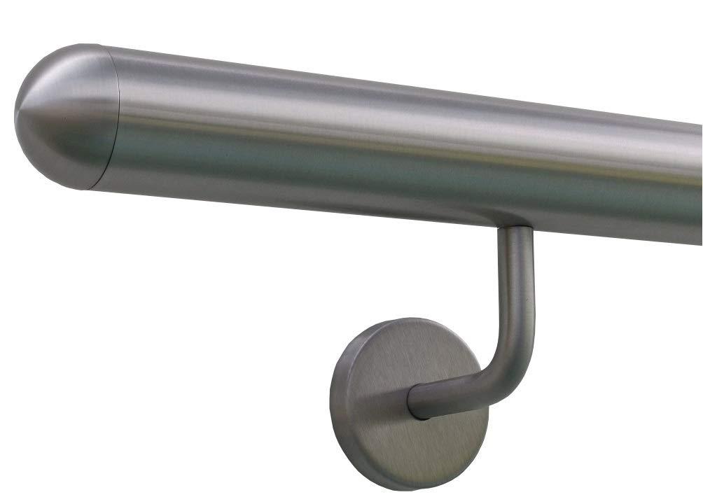 Edelstahlhandlauf L/änge 0,3m 6m aus einem St/ück /& unterschiedlichen Endst/ücken zum Ausw/ählen /Ø 42,4 mm mit gewinkelte Halter Enden mit leicht gew/ölbte Kappe Beispiel:L/änge 210 cm mit 3 Halter