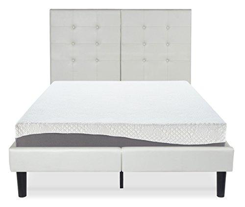 Olee Sleep 14 Inch Faux Leather Wood Slate Folding Platform R Burton / Non-Slip Support Bed Frame 14PB03K
