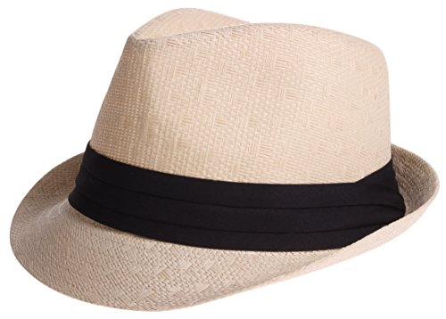 Enimay Vintage Unisex Fedora Hat Classic Timeless Light Weight 2118 - Beige L/XL]()