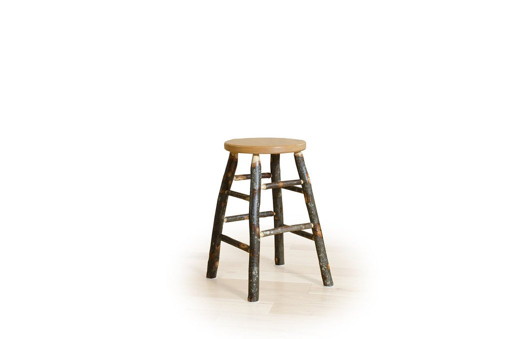 """Rustic Hickory Kitchen Stool- 18"""" Table Height"""