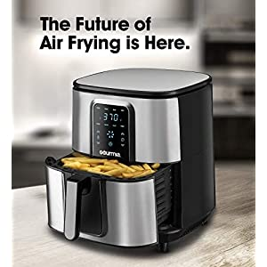 Gourmia GAF735 Stainless Steel Digital Air Fryer- No Oil Healthy Frying – Display with 8 Presets – 1700 Watt – 7 Qt Pan…