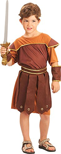 [Children's Gladiator Greek Warrior Fancy Dress Outfit Roman Soldier Costume Xl] (Kids Greek Outfit)