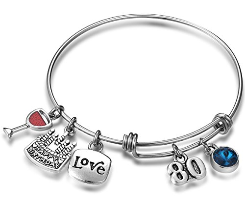 Expandable 80th Birthday Bracelet with Birthstone Charm