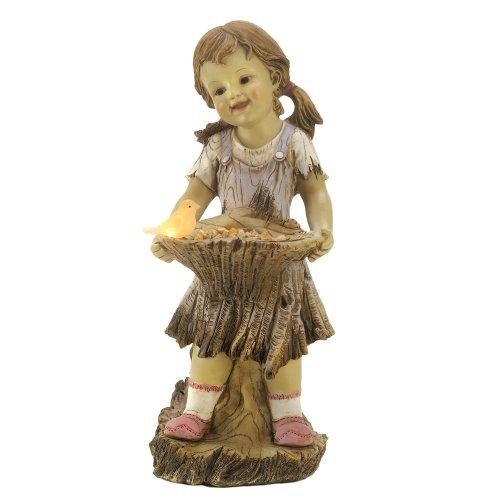 Gifts & Decor Sweet Summertime Girl Bird Solar Light Garden Statue