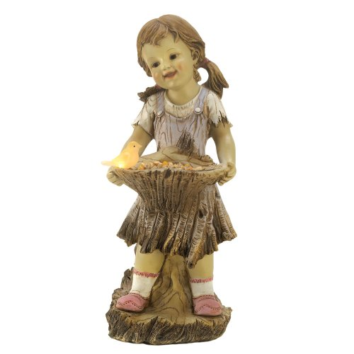 Gifts & Decor Sweet Summertime Girl Bird Solar Light Garden Statue