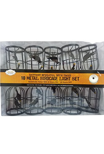 10 Count Metal Raven in Birdcage Battery Operated Light String with Timer (Bird String Lights)